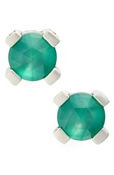 Stephen Dweck Women's Gemstone Stud Earrings Green Agate Silver