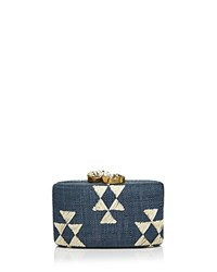 Kayu Tribal Stone Clutch Navy White