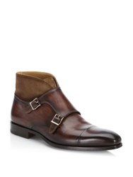 Saks Fifth Avenue Collection By Magnanni Mixed Media Dress Boots Brown