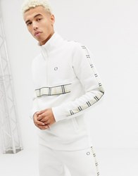Criminal Damage Track Jacket In White With Half Zip And Check Side Stripe