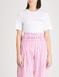 Moandco. Slogan Embroidered Stretch Jersey T Shirt Snow White