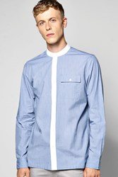 Boohoo Collar Long Sleeve Grandad Shirt Blue