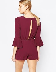 Love Split Back Playsuit With Bell Sleeves Wine Red