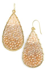 Panacea Women's Ombre Crystal Teardrop Earrings Ivory Smokey Topaz Multi