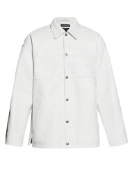 Balenciaga Logo Embroidered Leather Jacket White