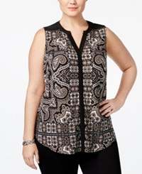 Inc International Concepts Plus Size Printed Split Neck Shell Only At Macy's Glam Paisley