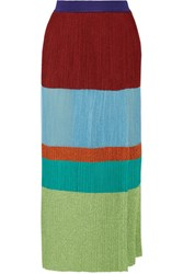 Missoni Wrap Effect Pleated Metallic Stretch Knit Maxi Skirt Sky Blue