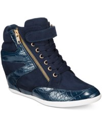 Thalia Sodi Azar High Top Wedge Sneakers Only At Macy's Women's Shoes Navy