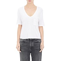 Alexander Wang T By Women's Crop V Neck T Shirt White