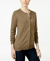 Karen Scott Long Sleeve Sweater Cardigan Only At Macy's Suede