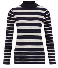 Austin Reed Stripe Turtle Neck Jumper Navy
