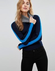 New Look Colourblock Fluffy Jumper Blue