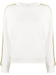 8Pm Brass Embellished Crew Neck Sweatshirt White