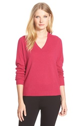 Nordstrom Double V Neck Cashmere Sweater Pink Vivacious