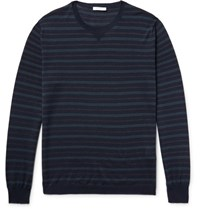 Boglioli Striped Virgin Wool And Silk Blend Sweater Navy