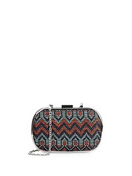 Franchi Capelli Woven Pattern Convertible Clutch Navy