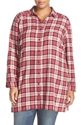 Caslonr Plus Size Women's Caslon Plaid Tunic Shirt Red Crinkle Plaid