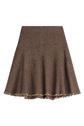 Etro Wool Blend Flared Skirt Brown