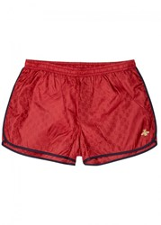 Gucci Red Monogrammed Swim Shorts Bordeaux