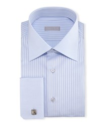 Stefano Ricci Contrast Collar French Cuff Striped Dress Shirt Light Blue Men's