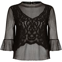 River Island Womens Black Mesh Lace Flared Sleeve Top