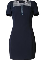 Versace Collection Shortsleeved Fitted Dress Blue