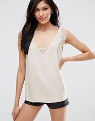 Asos Deep Plunge Lace Insert Camisole Vest Champagne Pink