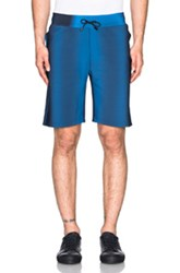 Calvin Klein Collection Kelly Performance Wave Print Shorts In Blue Ombre And Tie Dye