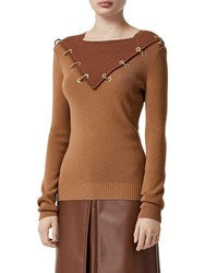 Burberry Wool And Cashmere Knit Sweater W Gold Ring Camel