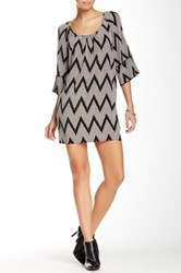 Glam Scoop Neck Cold Shoulder Printed Dress Black