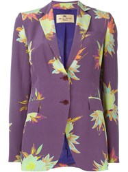 Etro Floral Print Blazer Pink And Purple