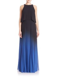 Halston Silk Ombre Cutout Gown Black Blue