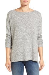 Gibson Women's Ballet Neck High Low Pullover Heather Grey