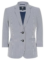 Viyella Petite Striped Blazer Navy White