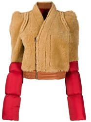 Rick Owens Contrast Shearling Coat Red