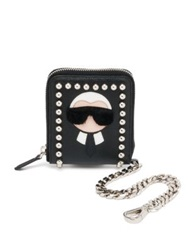 Fendi Karl Fur Trimmed Textured Leather Chain Wallet Black White