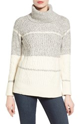 Nic Zoe Women's Borderlines Colorblock Turtleneck Heather Grey