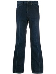 Christophe Lemaire Seamed Bootcut Trousers Blue