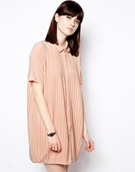 The Whitepepper Pleated Shirt Dress Pink