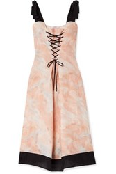 Marysia Santaquin Lace Up Printed Linen Midi Dress Pink