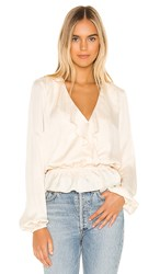 Show Me Your Mumu Brewster Top In White. Washed Satin Cream