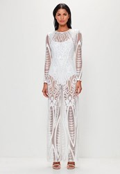 Missguided White Lace Wide Leg Jumpsuit