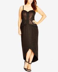City Chic Plus Size Convertible Metallic Maxi Dress Black