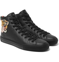 Gucci Appliqued Grained Leather High Top Sneakers Black