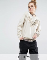 Reclaimed Vintage Oversized Boyfriend Sweatshirt With Sequin Patch Sand Stone
