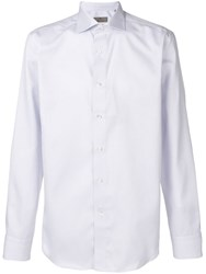Canali Micro Check Shirt Purple