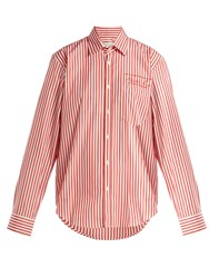 Martine Rose Logo Embroidered Striped Cotton Shirt Red Stripe