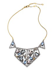 Alexis Bittar Crystal Encrusted Mosaic Lace Bib Necklace Silver