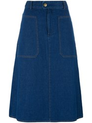A.P.C. Flared Denim Skirt Blue