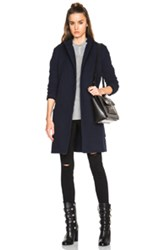 James Perse Brushed Fleece Wrap Coat In Blue